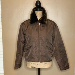 Brown Coat with Fur Trim